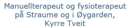 Manuellterapeut og fysioterapeut på Straume og i Øygarden, Kyrre Tveit
